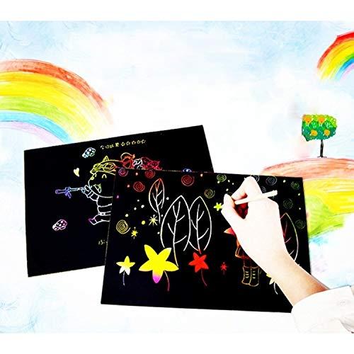 Zhouzl Jouets d'intelligence 20 PCS Bricolage à la Main créatif Scratch Peinture Papier Art Enfants Jouets éducatifs Jouets d'intelligence