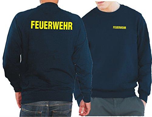 feuer1 Sweatshirt Navy, Feuerwehr in Neongelb