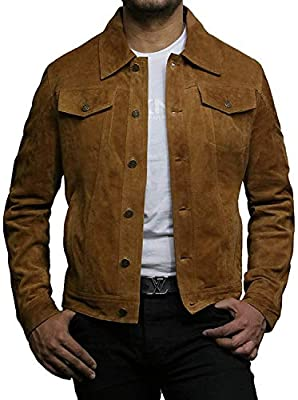 """BRANDSLOCK Mens Genuine Leather Biker Jacket Vintage Shirt Style (XL - (Fits Chest: 44-45""""), Tan) from"""