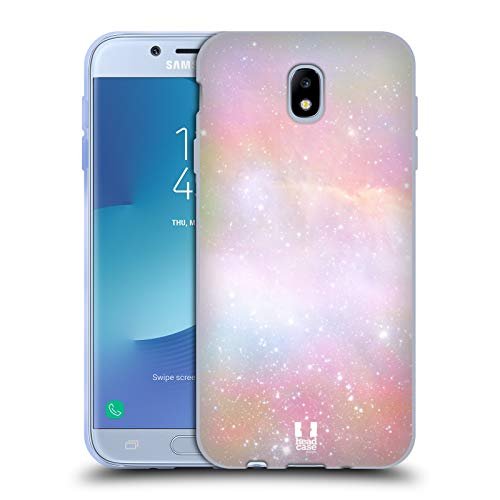 Head Case Designs Arancione Galassia Pastello Cover in Morbido Gel e Sfondo di Design Abbinato Compatibile con Samsung Galaxy J7 2017 / PRO