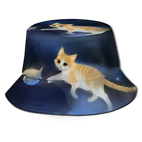 Ygoner Flat Top Breathable Bucket Hats Space Cat Fish Food...