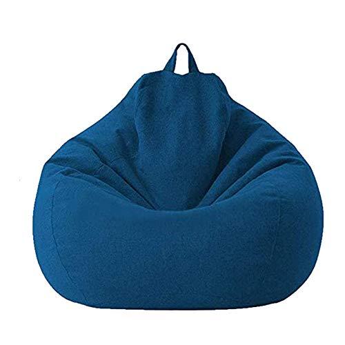 ACAMPTAR Funda de Sofá Perezoso Sin Relleno Asiento Reclinable de Lino Puff Sofá Tatami Funda de Sofá ArtíCulos para el Hogar Azul