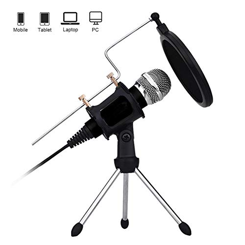 ACC Pc Telefoon Microfoon, 3,5 mm Jack Handheld Microfoon met Statief Stand en Pop-up Filter voor Youtube, Msn, Facebook, Skype Online Chat, Spellen, Opnemen, Podcasts