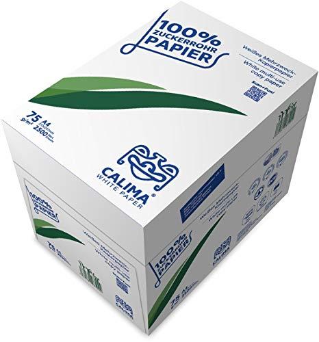 CALIMA WHITE PAPER - Papel fotocopia sin árboles, 100% residuos de caña de azúcar, amigable con el medio ambiente, DIN A4 75 g/m2, color blanco, 2500 hojas, 5 x 500 hojas, UPCYCLED