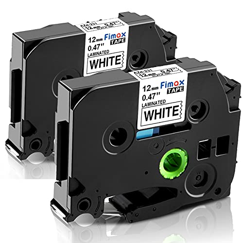 Fimax Compatible Label Tape Replacement for Brother TZe-231 TZe231 P-Touch PTD210 PTH110 PTD600 PT-400 Cube Label Makers (12mm 0.47 Black on White,2PK)