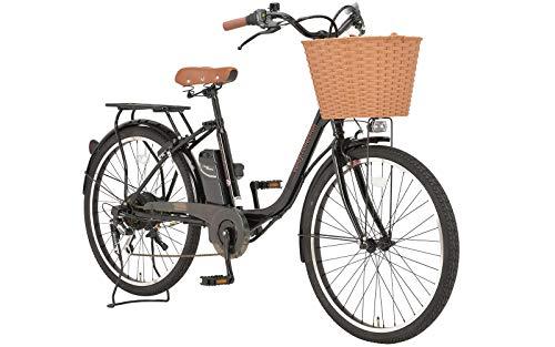 Voldy 電動アシスト自転車 完成品 シティサイクル 26インチ シマノ6段変速 かご LEDライト FT-266R-E ブラック 46699