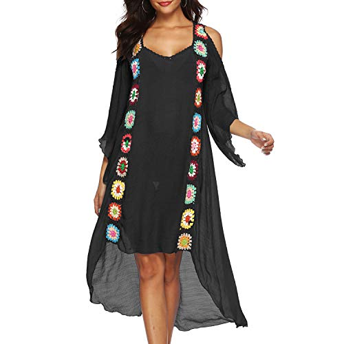 HOOLRO Beach Swimsuit Cover Ups for Women, Crochet Chiffon Summer Bathing Suit Cover Ups (Black, XXXL)