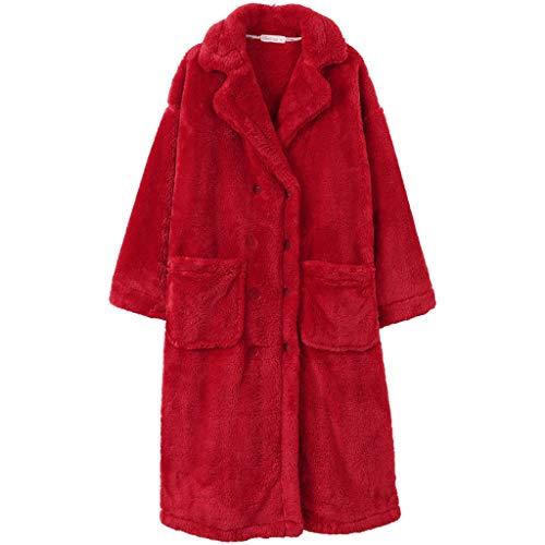 Albornoz largo para mujer con cuello de chal, bata de forro polar coral con bolsillos (color: rojo, tamaño: grande)