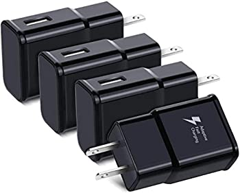 Adaptive Fast Charging USB Wall Charger Qihop 4-Pack Fast Charging Block Travel USB Charger Adapter Compatible Samsung Galaxy S10 S9 S8 S7 S6 Note 8 9 iPhone HTC and More