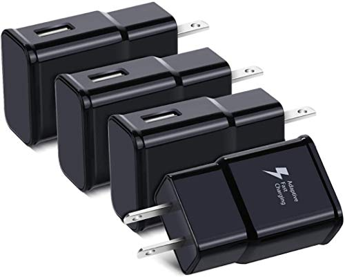 Adaptive Fast Charging USB Wall Charger, Qihop 4-Pack Fast Charging Block Travel USB Charger Adapter Compatible Samsung Galaxy S10 S9 S8 S7 S6 Note 8 9, iPhone, HTC and More
