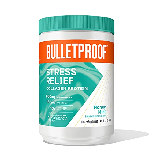 Bulletproof Honey Mint Stress Relief Collagen Peptide Protein, 8.5 Ounces, Natural Supplement for Stress and Relaxation with Ashwagandha, Magnesiumand Holy Basil