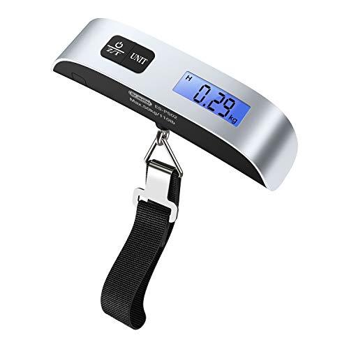 Bilancia Digitale, Dr.meter Pesa Bagaglio Valigie 50kg/110lb con Sensore di Temperatura, Con Funzione Zero e Tare,Batteria Inclusa,D'argento e Nera (1 pack)