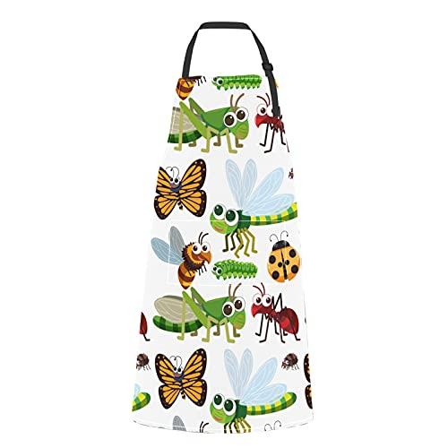 JOCHUAN Delantales de Caterpillar en estilo de dibujos animados para niños Caterpillar en estilo de dibujos animados Corbata ajustable con bolsillos para adultos