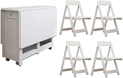 LTHDD Juego de mesa de comedor y sillas retráctiles, mesa plegable rectangular de madera con ruedas universales, adecuado para apartamentos pequeños
