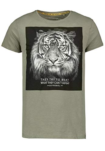 Sky Rebel Herren T-Shirt mit Tiger Aufdruck und Statement Green M