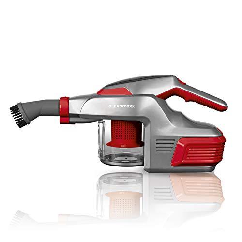 CLEANmaxx Handstaubsauger mit 4000mAh Li-Ion Akku inkl. Wandhalterung | ca. 30 min Betriebslaufzeit bei vollem Akku | inkl. Verlängerrungsrohr, 150 Watt (Rot)