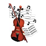 Personalized Orchestra Christmas Tree Ornament 2021 - Wooden Violin Music Note Strings Treble Clef Fiddle Violinist Performs Recital Instrument Hobby Profession Teacher Year - Free Customization