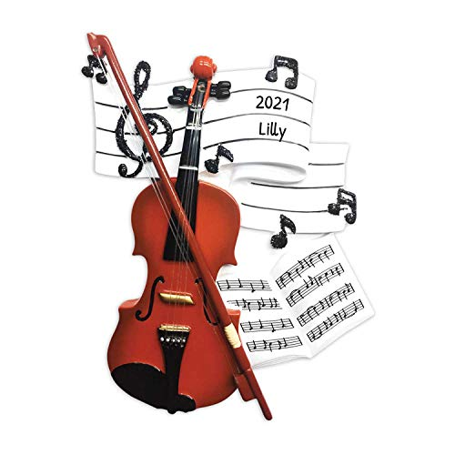 Personalized Orchestra Christmas Tree Ornament 2020 - Wooden Violin Music Note Strings Treble Clef Fiddle Violinist Performs Recital Instrument Hobby Profession Teacher Year - Free Customization