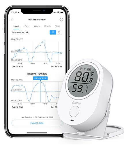 Govee WiFi Temperature Humidity Works with Alexa, Wireless Thermometer Hygrometer Temp Humidity Monitor with Alerts & Data Export for House Greenhouse Wine Cellar Humidor [Doesn't Support 5G WiFi]