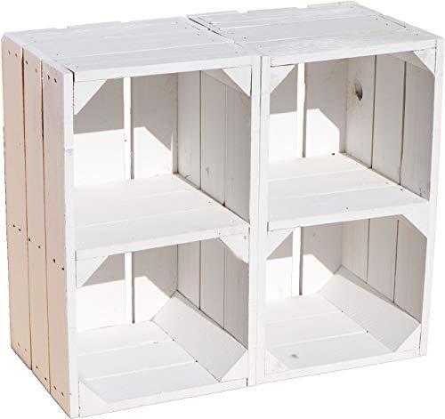Kistenkolli Altes Land 2er Set Regalkiste Hilde weiß mit Mittelbrett Sideboard Aufbewahrungkiste Nachttisch Ablagekiste Standregal Holzkiste mit Ablagefach