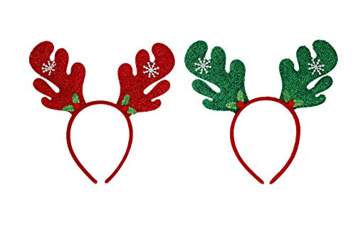 ALONA Christmas Headbands 2Pcs for Girls Boys adults, Reindeer Antler Santa Hat Tree Xmas Party Costume Headwear Accessory Holiday Party Favor Supplies Decorations
