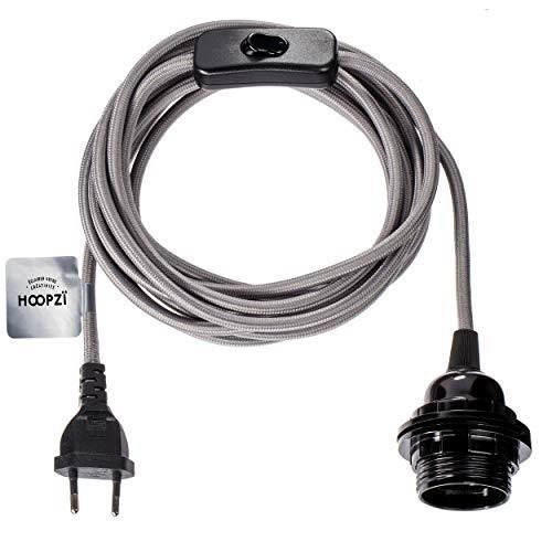 Hoopzi - Bala - Fassung e27 mit Kabel - Lampenfassung e27 mit Kabel und Schalter - Textilkabel mit Fassung - Lampenkabel - Pendelleuchte - 4,5 Meter - 36 Fraben - Grau