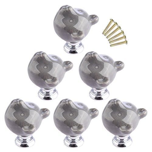 Möbelknopf Keramik, Lommer 6 Pcs Bär Geformt Möbelknöpfe Griff Möbelgriff Mode Keramik Kinder Porzellan Knopf für Schränke Schublade Kleiderschrank und Andere Möbel (Grau)