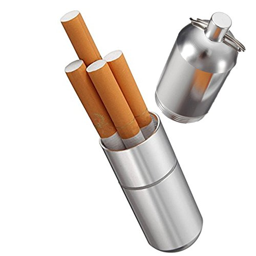 Joint case,Aluminum Cigarette Case Holder with Key Ring Waterproof Round Cigarettes Pocket Box (Silver - Small)