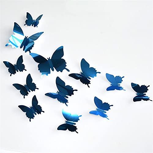 GHJGHJ 12 stücke 3D Schmetterling Spiegel wandaufkleber Schmetterlinge wandtattoo abnehmbare DIY wandkunst Party Hochzeit dekor für hausdekorationen (Color : Blue)