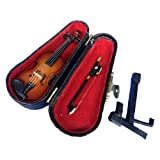 ALANO Miniature Violin Mini Musical Instrument Wooden Model Replica Festival Decoration and Holiday Tree Ornament with Stand and Case (10cm)