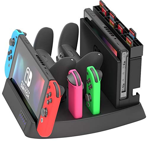 Skywin Switch Charging Dock - Charging Dock and game holder for Switch Console, Joy-Con Controllers, Switch Pro Controllers, Charging Base and Up to 28 games
