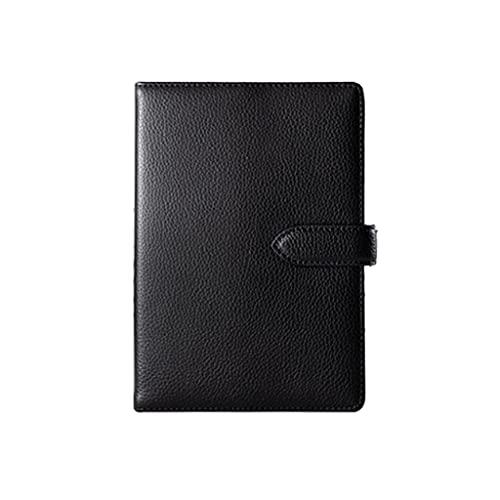Linjolly Cuaderno de cuero simple cuaderno de negocios oficina trabajo diario estudiante diario diario cuaderno cuaderno libreta letras (A5, negro)