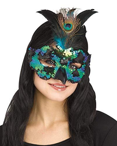 Horror-Shop Blau-Grüne Pailletten-Maske mit Pfauenfedern