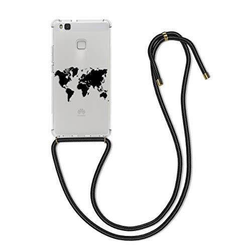 kwmobile Funda con Cuerda Compatible con Huawei P9 Lite - Carcasa de TPU con Colgante Mapa del Mundo Negro/Transparente