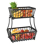 Apsan 2 Tier Fruit Storage Basket Countertop for Kitchen, Bread Vegetable Fruit Basket Bowl Stand Detachable Metal Rectangular Wire Basket, Black Small