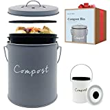Compost BIN - Stainless Steel Compost Bin for Kitchen Counter - with Inner Compost Bucket for...