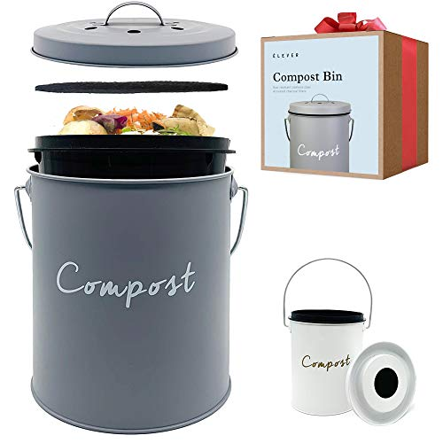 Compost BIN - Stainless Steel Compost Bin for Kitchen Counter - with Inner Compost Bucket for Kitchen, 2 Fruit Fly Trap Filters. Composter for Zero Waste Recycling. Kitchen Compost Bin, Compost Pail