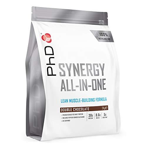 Phdit Phd Nutrition Synergy Iso-7, Polvere Di Proteine Del Siero Di Latte Premium All-In-One, Alto Complesso Proteico Da 40G, Gusto Doppio Cioccolato Come Bevanda Pre/Post Allenamento (2 Kg) - 2050 g