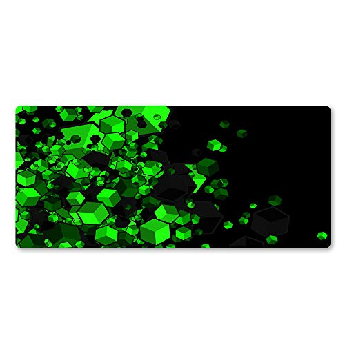 """WLHZNB Large Gaming Mouse Pad with Nonslip Base Green Geometric Checkered Pattern Extended XXL Mat, Soft Comfy, Waterproof & Foldable Mat 35.4""""x15.7"""" for Desktop, Laptop, Keyboard"""