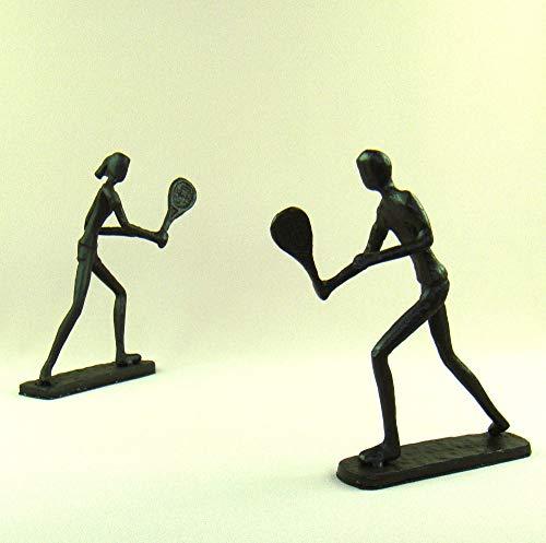 NSWMDSTD Skulptur,Abstrakte Tennis-Liebhaber Figuren Handgemachte Gießerei Eisen Badminton Spieler Miniaturen Handwerk Für Home Decoration Und Kunst-Sammlung
