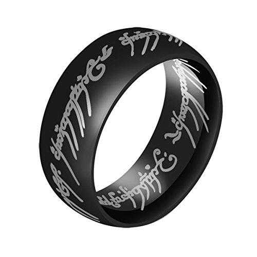 De el Señor de los anillos anillo para los hombres alta Polaco negro con bandas de acero inoxidable hombres anillo de boda 8mm