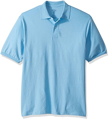 Jerzees Men's Spot Shield Short Sleeve Polo Sport Shirt, Light Blue, 3X-Large