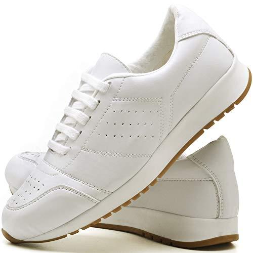 Tênis Sapato Casual Com Cadarço Feminino JUILLI 1102DB Tamanho:39;cor:Branco;gênero:Feminino