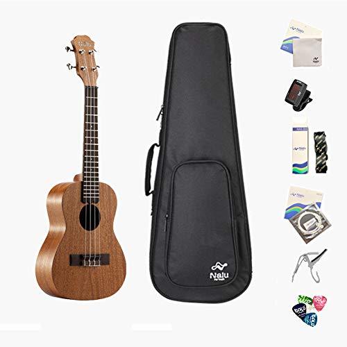 RONSHIN Mode voor 21/23/26 inch N-520 Mahonie Ukulele Hawaiiaanse kleine gitaar Ukelele Kit Soprano Tenor Concert 4 String Gitaar met Tuner Strap Capo Pick voor beginners, 21inch