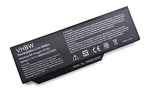 vhbw Li-Ion Akku 6600mAh (11.1V) für Notebook Laptop Medion MD96363, MD96380, MD96405, MD96420, MD96443 wie BP-Dragon GT(S), 40019327, MIM2070.