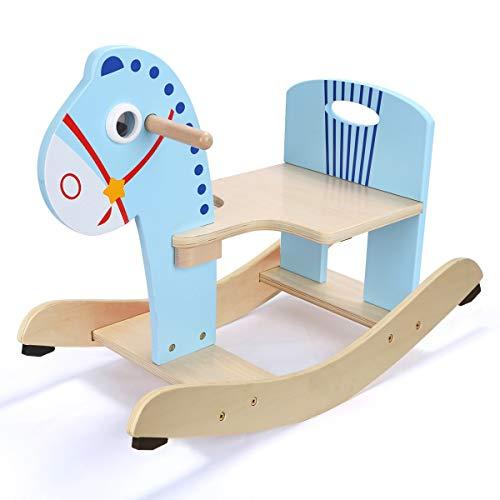 Petit Cheval de Troie Enfant secouer Cheval 1 an Cadeau bébé en Bois Chaise berçante bébé Jouet intérieur (Couleur : Bleu)