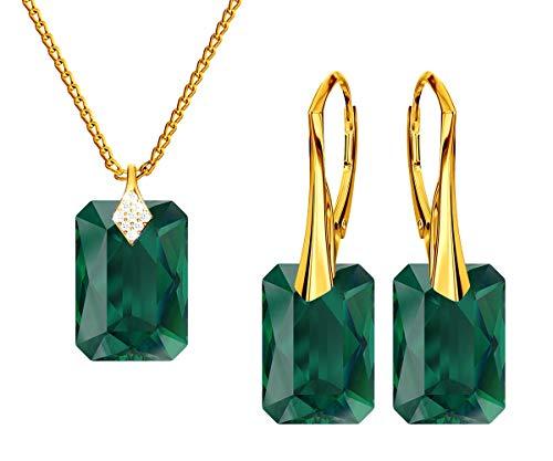 *Beforya Paris * Novedad Smerald * Plata 925 / Bañado en oro de 24 K – Joyas con cristales de Swarovski Elements – Pendientes y collar con caja de regalo