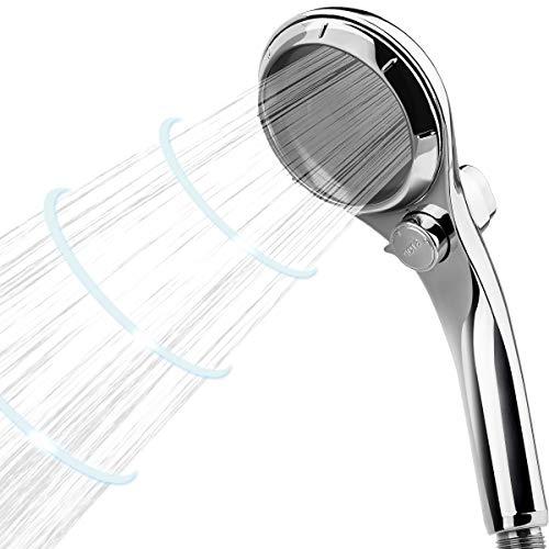 Duschkopf 304 Edelstahl + Chrom-Finish Wasserstrahl Verstellbar mit Wasserstopptaste Ribivaul Hochdruck & Wassersparend Regendusche und Massage Funktion Handbrause zum Baden Duschen