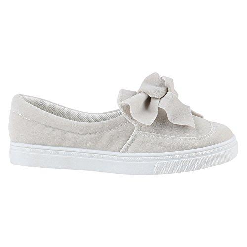 stiefelparadies Damen Schuhe Slip-ons Glitzer Sneakers Helle Sohle Slipper Metallic 155894 Hellgrau Schleifen 37 Flandell