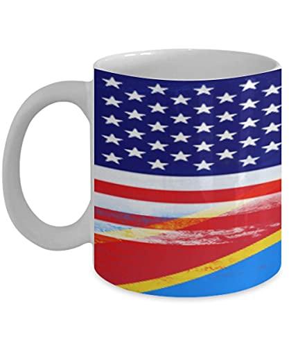 N\A USA Demokratische Republik Kongo Flagge 11oz weiße Kaffeetasse Teetasse American Immigrant Country